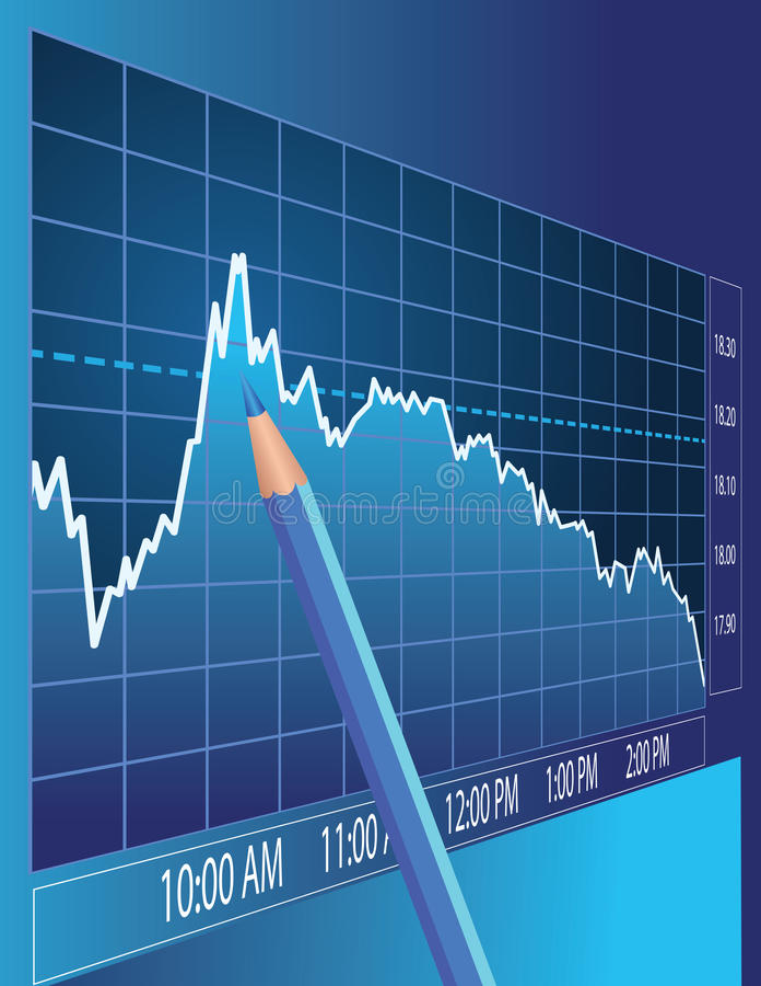 Análise do mercado de valores de acção ilustração stock