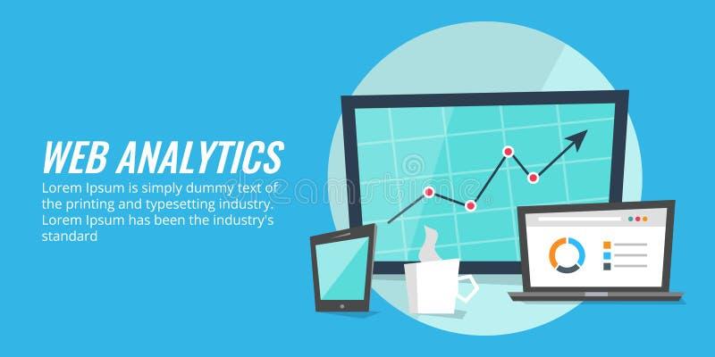 Análise do relatório do Web site em dispositivos digitais Analítica da Web, dados, conceito da informação ilustração do vetor