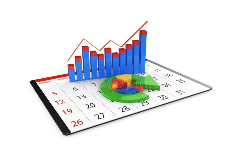 Análise dos dados financeiros nas cartas - vista geral gráfica moderna das estatísticas fotografia de stock