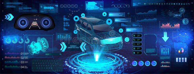 Análise e diagnóstico de carro de alta tecnologia no estilo HUD ilustração do vetor