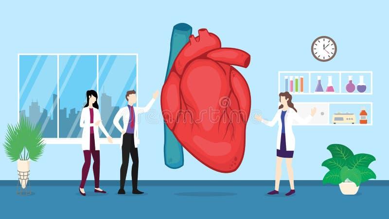 Análise humana do controle dos cuidados médicos do coração que identifica por povos do doutor no hospital - ilustração royalty free