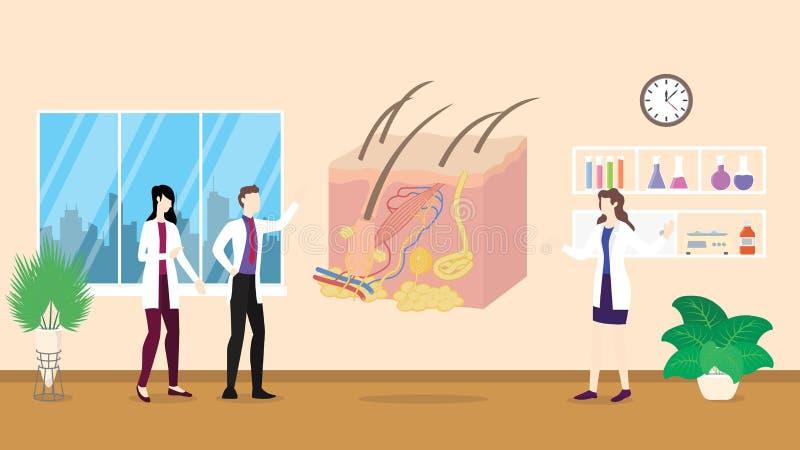 Análise humana do controle dos cuidados médicos da estrutura da anatomia da pele que identifica por povos do doutor no hospital ilustração do vetor
