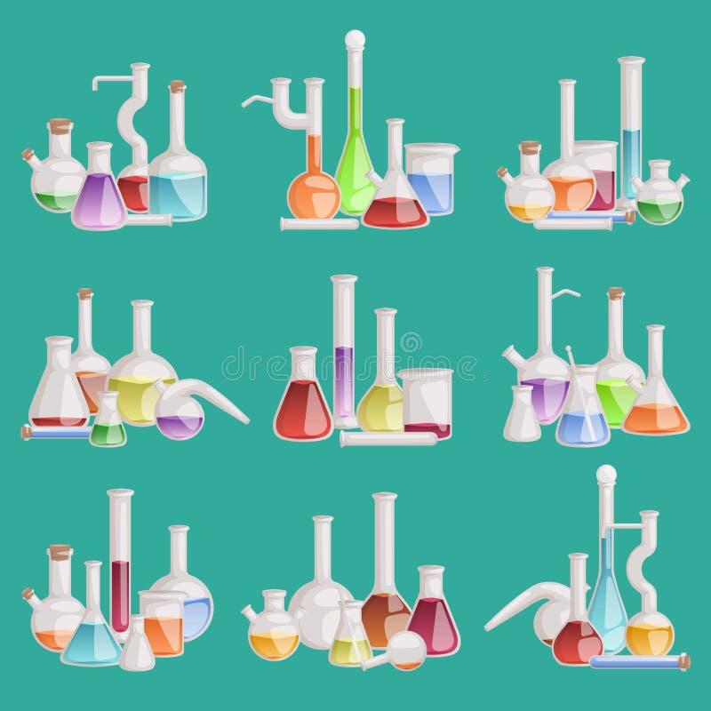 Análise líquida da biotecnologia do tubo químico dos produtos vidreiros da garrafa do laboratório do vetor do laboratório Grupo d ilustração royalty free