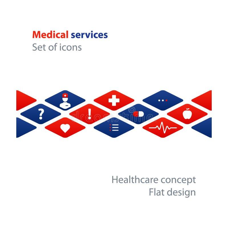 Análise médica, verificação anual acima, conceito do seguro de saúde, tratamento de hospital ilustração royalty free