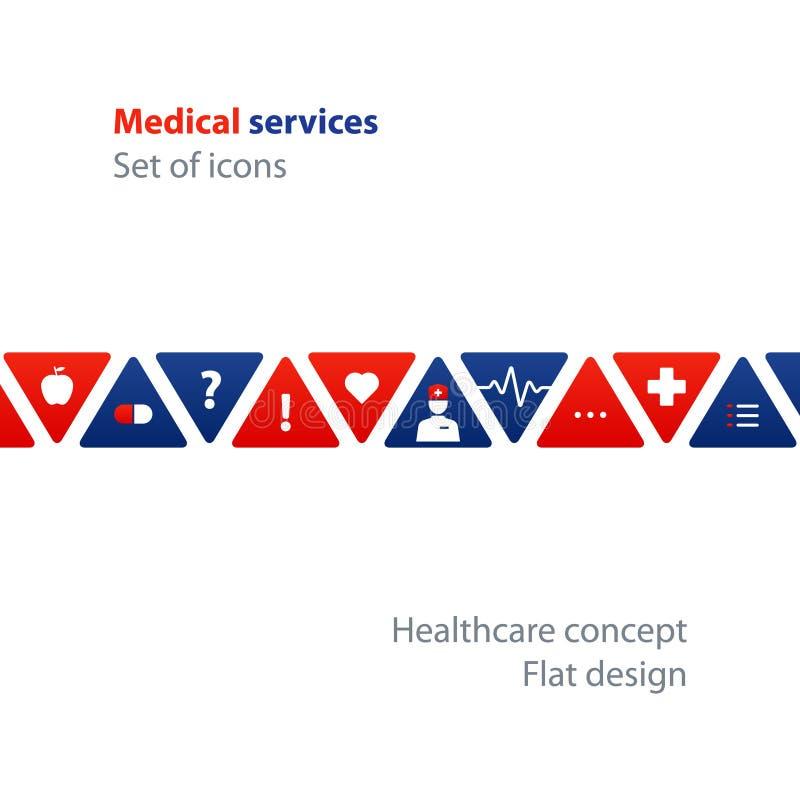 Análise médica, verificação anual acima, conceito do seguro de saúde, tratamento de hospital ilustração stock