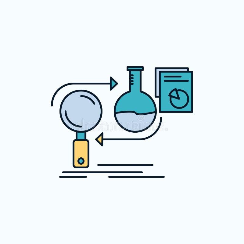 A análise, negócio, torna-se, desenvolvimento, ícone liso do mercado sinal e s?mbolos verdes e amarelos para o Web site e o appli ilustração do vetor