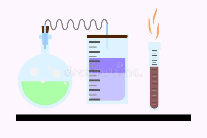 Análises laboratoriais e pesquisa Taça do laboratório enchido com o líquido em um estilo liso, embarcações eps8 químicas Silhueta ilustração do vetor