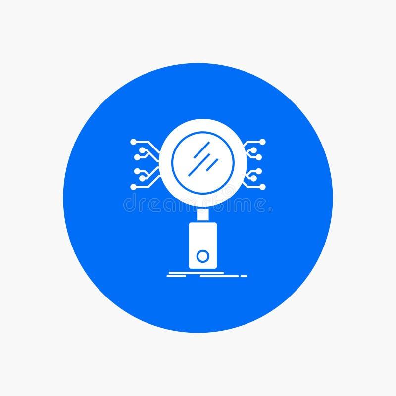 Análisis, búsqueda, información, investigación, icono blanco del Glyph de la seguridad en círculo Ejemplo del bot?n del vector libre illustration