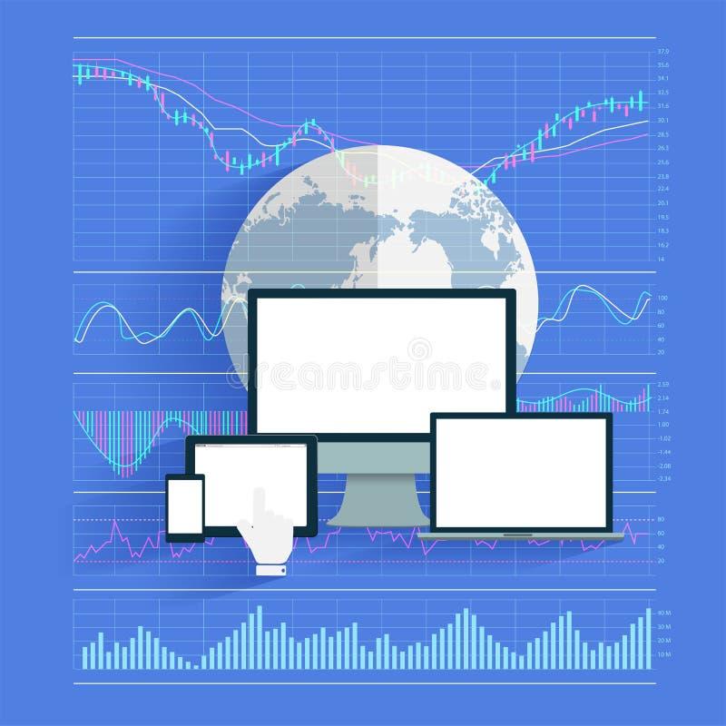 Análisis común creativo del negocio de la tecnología de la innovación ilustración del vector