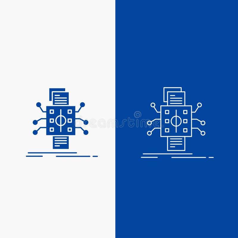 Análisis, datos, dato, proceso, divulgando botón de la web de la línea y del Glyph en la bandera vertical del color azul para UI  stock de ilustración