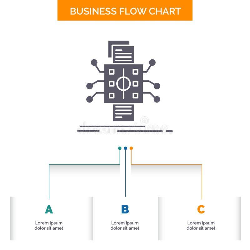 An?lisis, datos, dato, proceso, divulgando dise?o del organigrama del negocio con 3 pasos Icono del Glyph para el fondo de la pre stock de ilustración