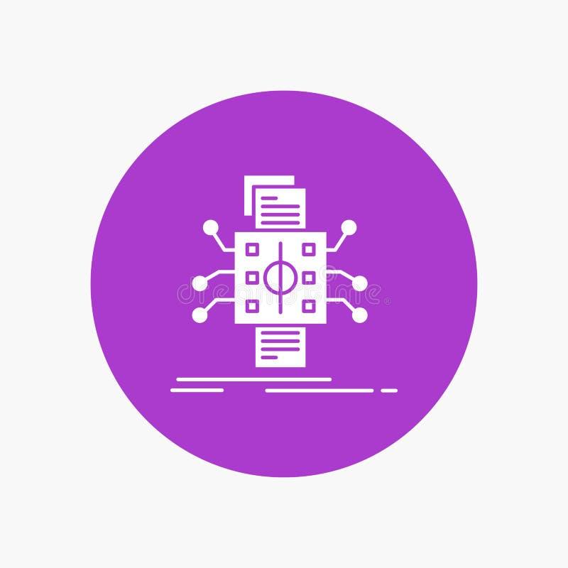 Análisis, datos, dato, proceso, divulgando el icono blanco del Glyph en círculo Ejemplo del bot?n del vector ilustración del vector