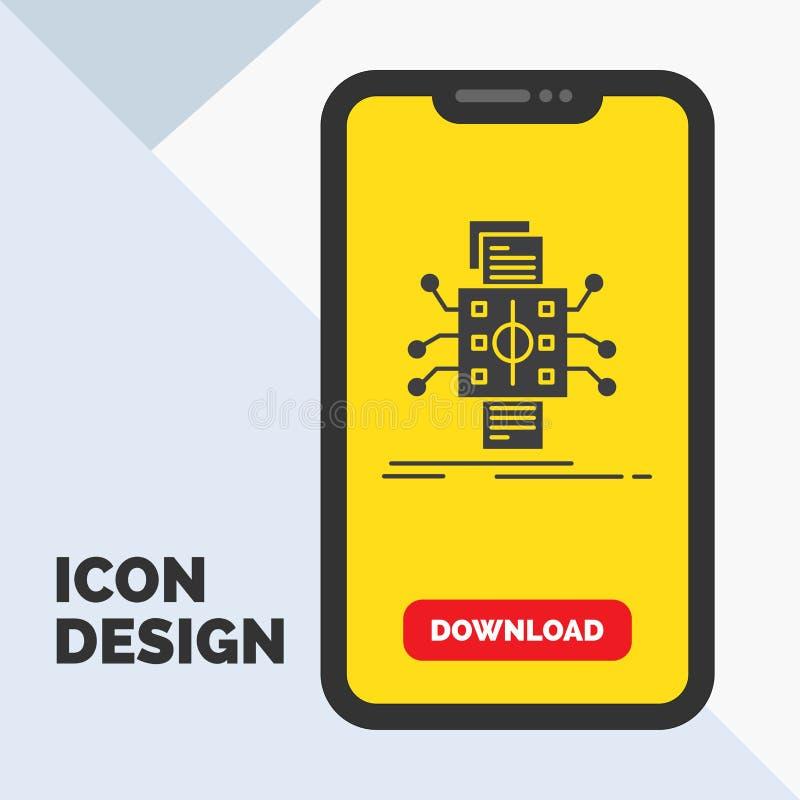 Análisis, datos, dato, proceso, divulgando el icono del Glyph en el móvil para la página de la transferencia directa Fondo amaril libre illustration
