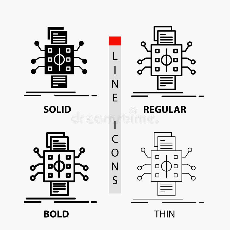 Análisis, datos, dato, proceso, divulgando el icono en línea y estilo finos, regulares, intrépidos del Glyph Ilustraci?n del vect libre illustration