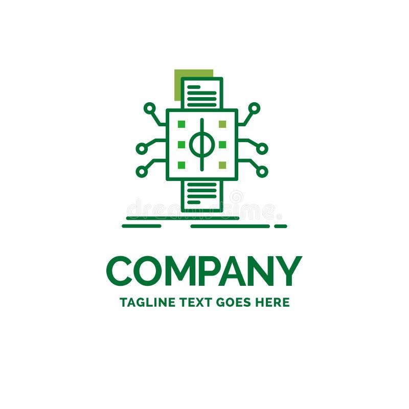 Análisis, datos, dato, proceso, divulgando el logotipo plano del negocio stock de ilustración