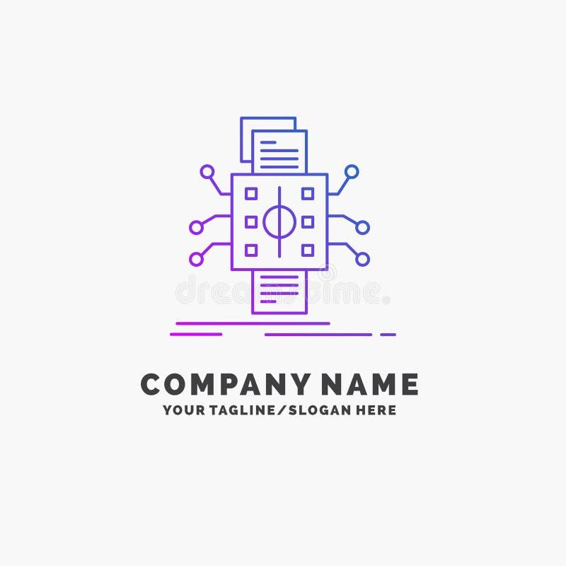 Análisis, datos, dato, proceso, divulgando el negocio púrpura Logo Template Lugar para el Tagline ilustración del vector