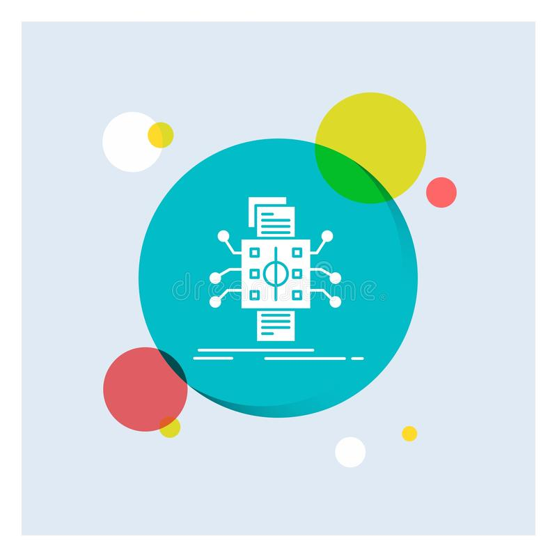 Análisis, datos, dato, proceso, divulgando a icono blanco del Glyph el fondo colorido del círculo stock de ilustración