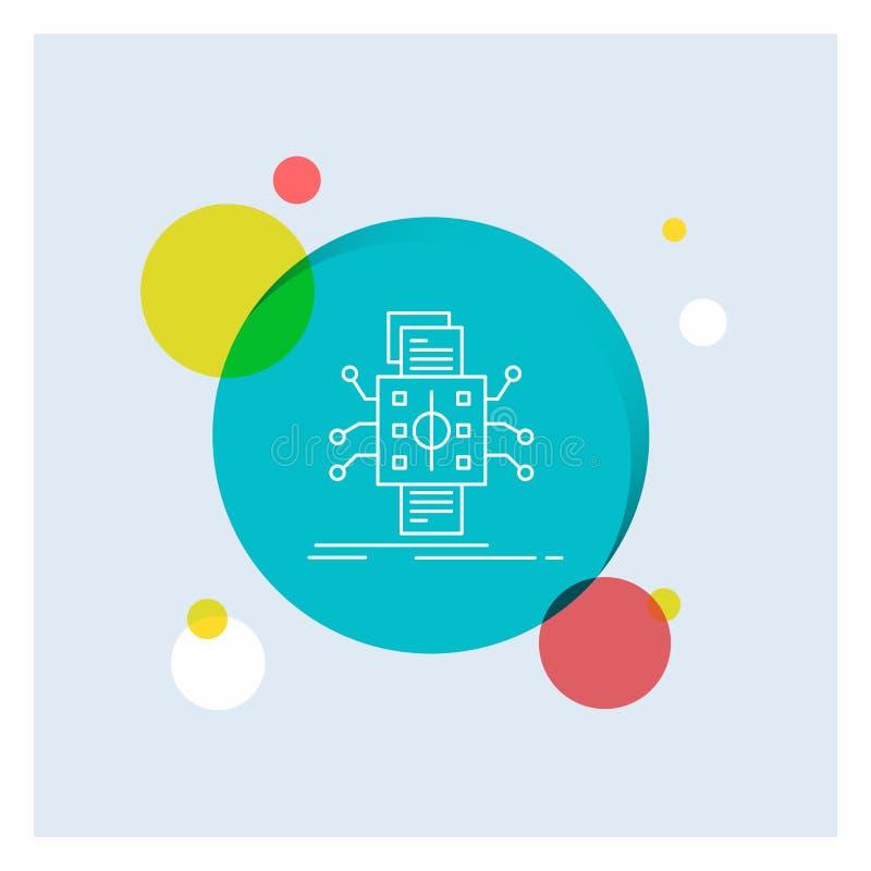 Análisis, datos, dato, proceso, divulgando a línea blanca icono el fondo colorido del círculo ilustración del vector