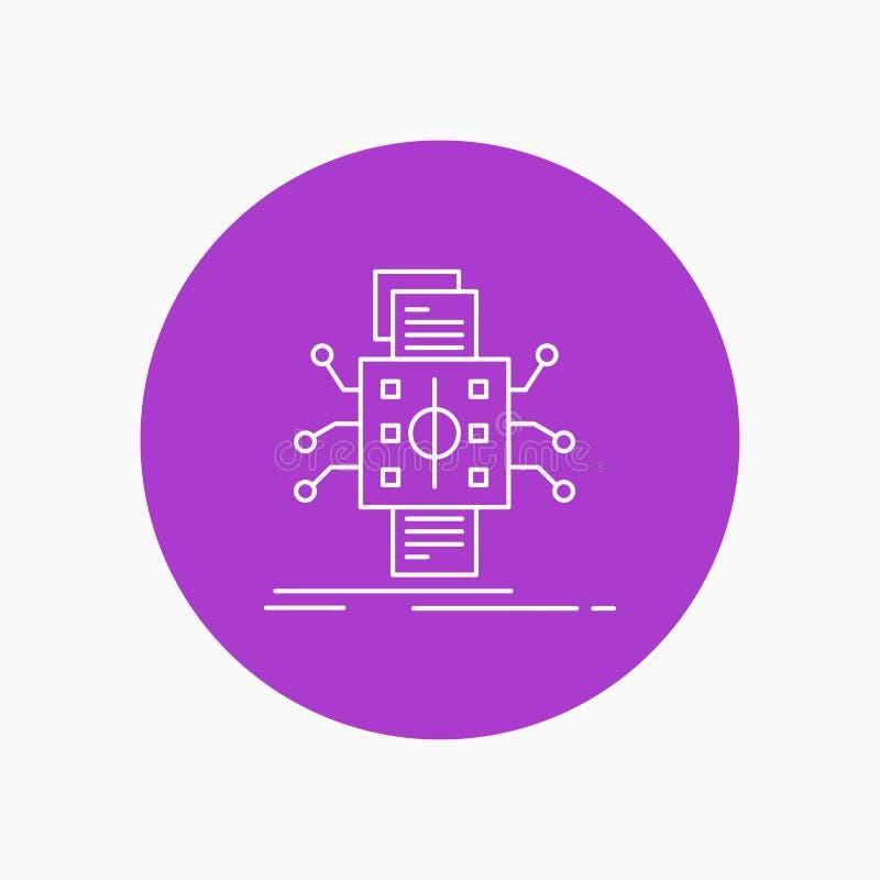 Análisis, datos, dato, proceso, divulgando la línea blanca icono en fondo del círculo Ejemplo del icono del vector libre illustration