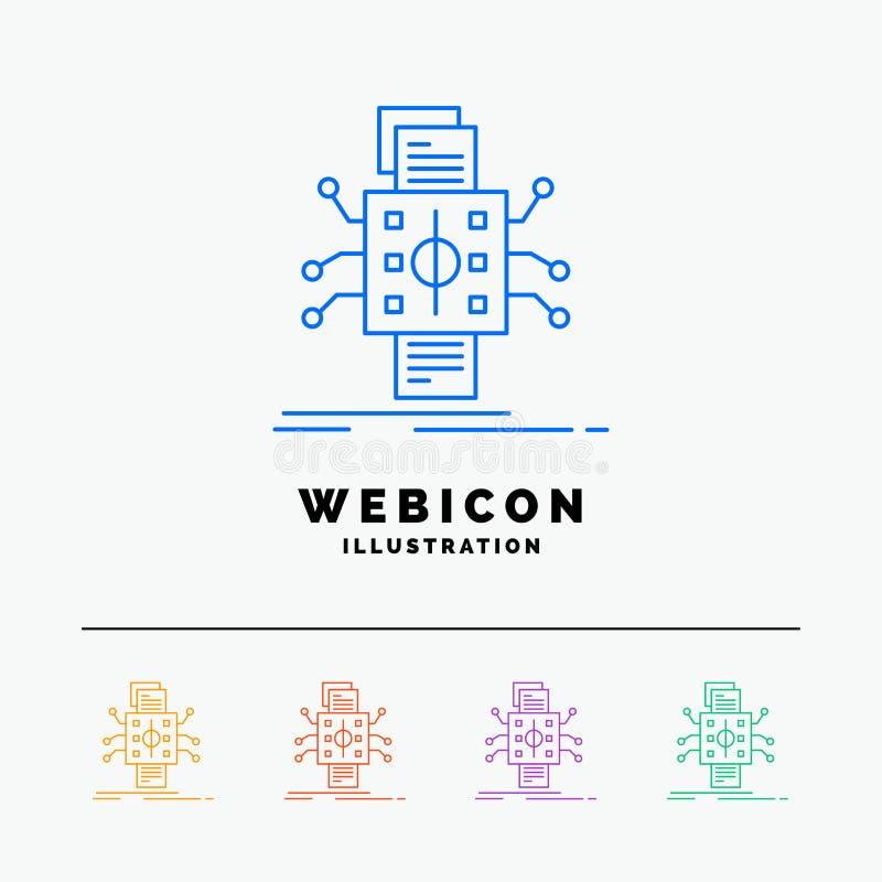 Análisis, datos, dato, proceso, divulgando la línea de color 5 plantilla del icono de la web aislada en blanco Ilustraci?n del ve ilustración del vector