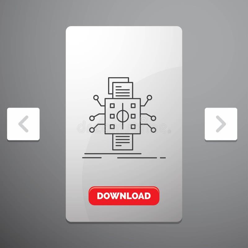 Análisis, datos, dato, proceso, divulgando la línea icono en diseño del resbalador de las paginaciones de la orgía y botón rojo d ilustración del vector