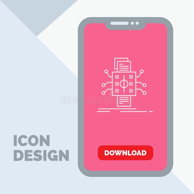 Análisis, datos, dato, proceso, divulgando la línea icono en el móvil para la página de la transferencia directa stock de ilustración