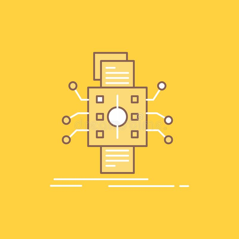 Análisis, datos, dato, proceso, divulgando la línea plana icono llenado r libre illustration