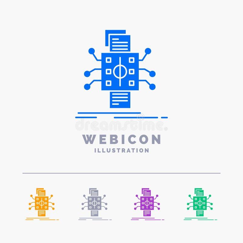 Análisis, datos, dato, proceso, divulgando la plantilla del icono de la web del Glyph de 5 colores aislada en blanco Ilustraci?n  libre illustration