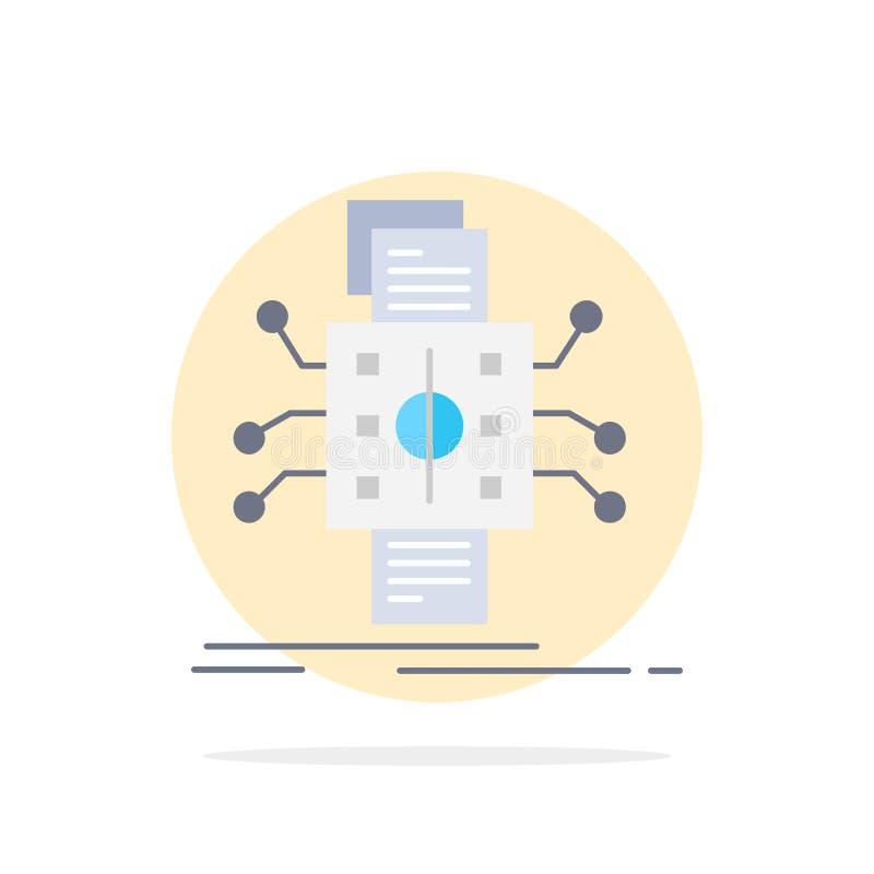 Análisis, datos, dato, proceso, divulgando vector plano del icono del color ilustración del vector