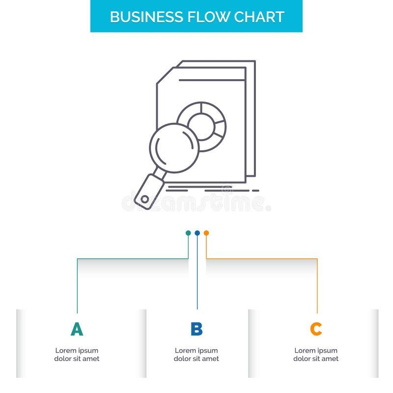 Análisis, datos, financieros, mercado, diseño del organigrama del negocio de la investigación con 3 pasos L?nea icono para el fon ilustración del vector