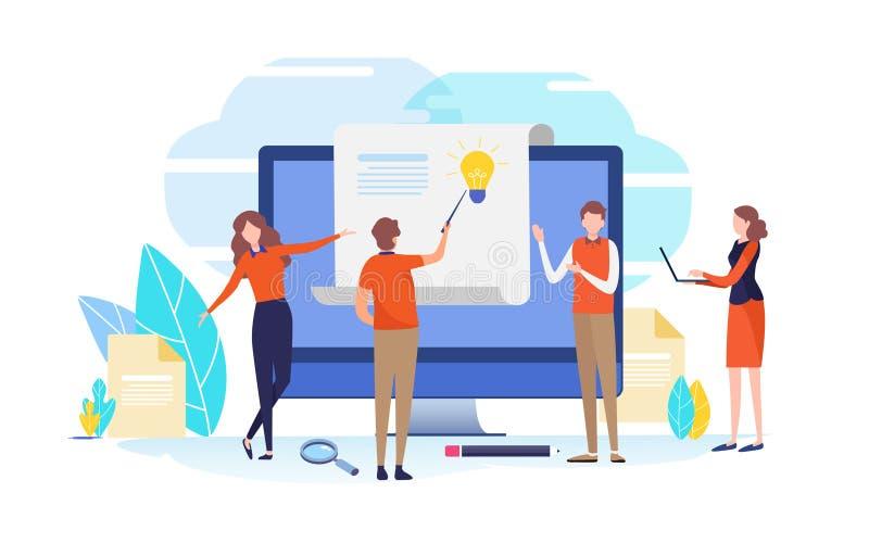 Análisis de datos Ayuda del negocio Ejemplo del vector de la gente Diseño gráfico del personaje de dibujos animados plano stock de ilustración