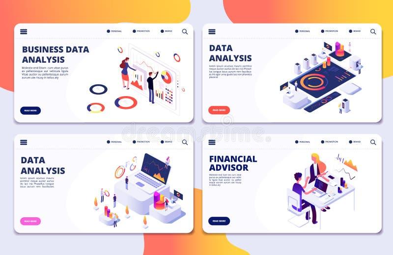 Análisis de datos, consejero financiero, plantilla de las páginas del aterrizaje del vector del análisis de datos de negocio stock de ilustración