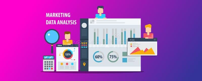 Análisis de datos del márketing, tablero de instrumentos que muestra el analytics digital, información, situación demográfica, ta ilustración del vector