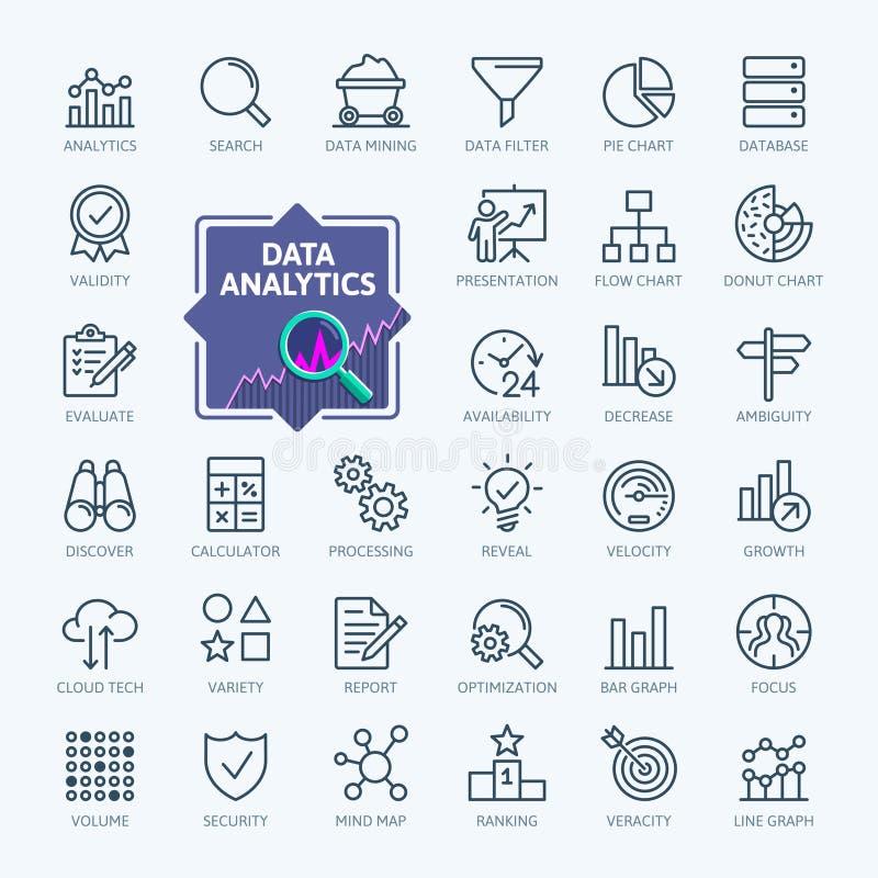Análisis de datos, estadísticas, analytics - línea fina mínima sistema del icono del web Colección de los iconos del esquema stock de ilustración