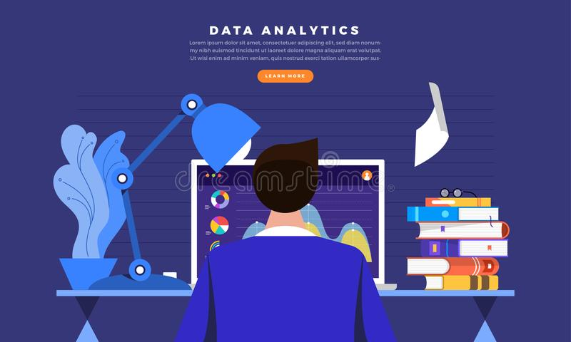 análisis de datos de trabajo ilustración del vector