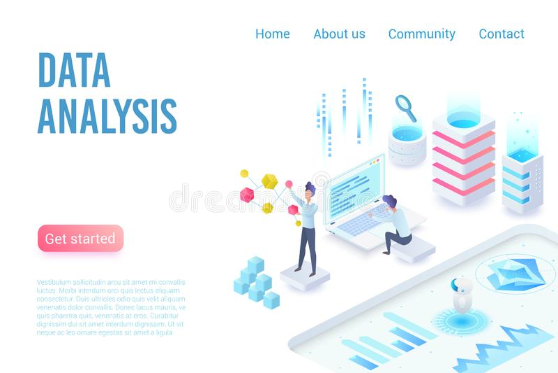 Análisis de datos y plantilla de aterrizaje isométrica del vector de la página de la visualización stock de ilustración