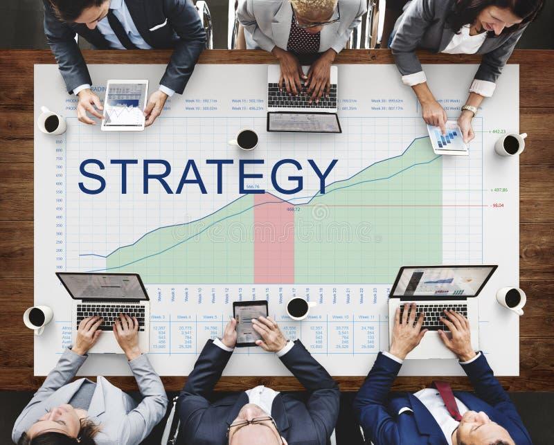 Análisis de la estrategia que planea concepto del éxito empresarial de Vision imagenes de archivo