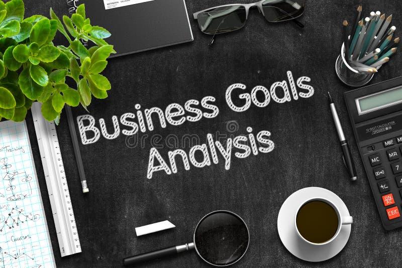 Análisis de las metas de negocio en la pizarra negra representación 3d stock de ilustración