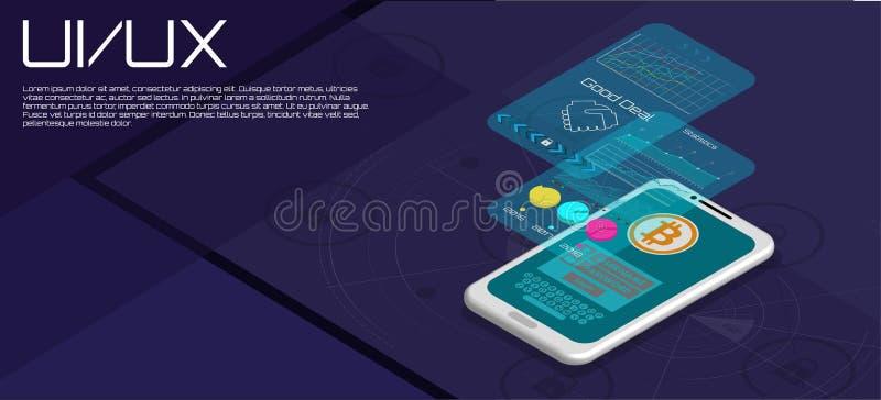 Análisis de tendencia del mercado en Smartphone con los gráficos ilustración del vector