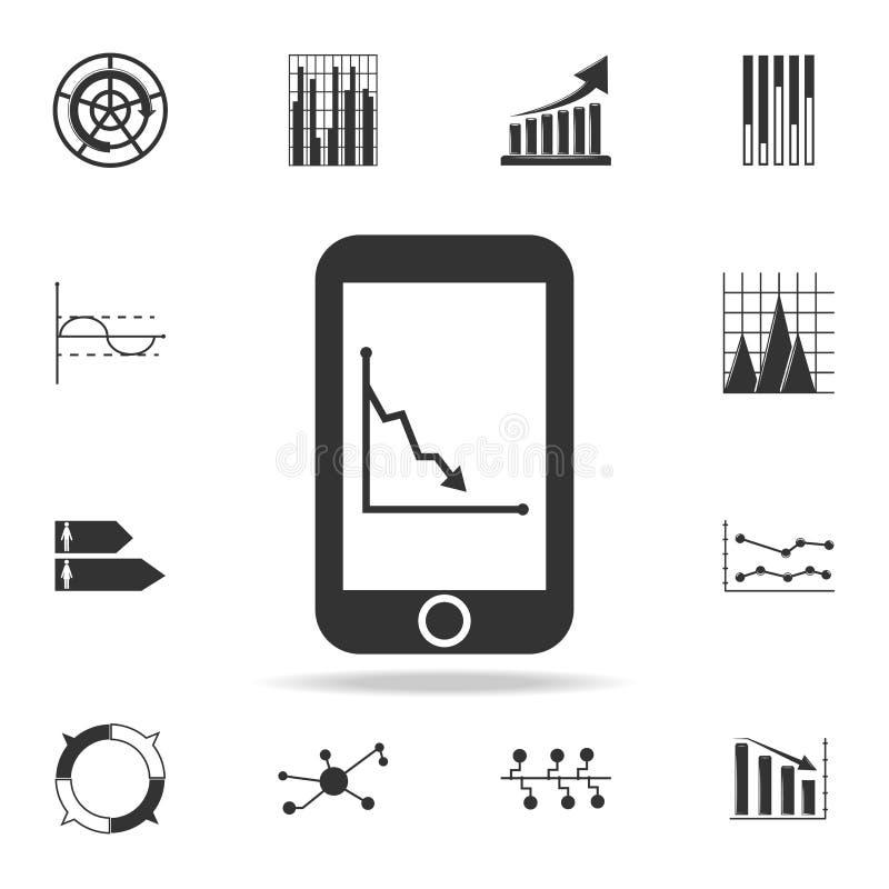 Análisis de tendencia del negocio en la pantalla del smartphone con el icono de los gráficos Sistema detallado de iconos del diag stock de ilustración