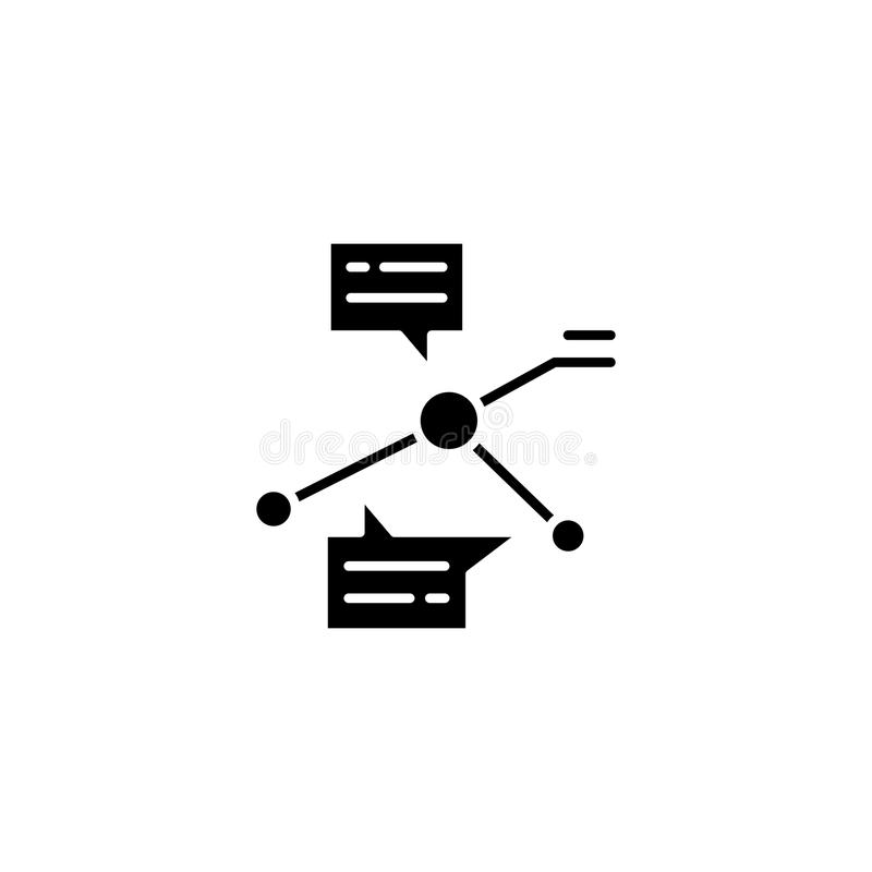 Análisis del concepto negro del icono de los indicadores Análisis del símbolo plano del vector de los indicadores, muestra, ejemp ilustración del vector