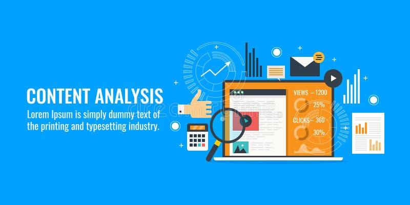 Análisis del contenido, crecimiento del negocio, estudio de mercado, datos, concepto de la información Bandera plana del vector d stock de ilustración