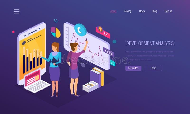 Análisis del desarrollo, gráfico financiero del crecimiento, estudio de mercados, auditando, analytics del negocio ilustración del vector