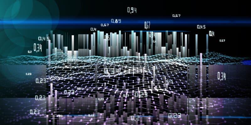 Análisis del extracto infographic en fondo azul Datos grandes Concepto futurista de los datos libre illustration