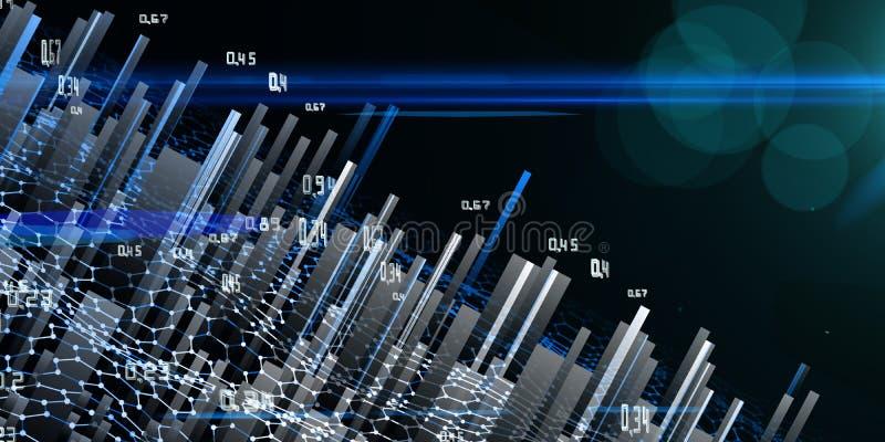 Análisis del extracto infographic en fondo oscuro Datos grandes Concepto ligero futurista de los datos stock de ilustración
