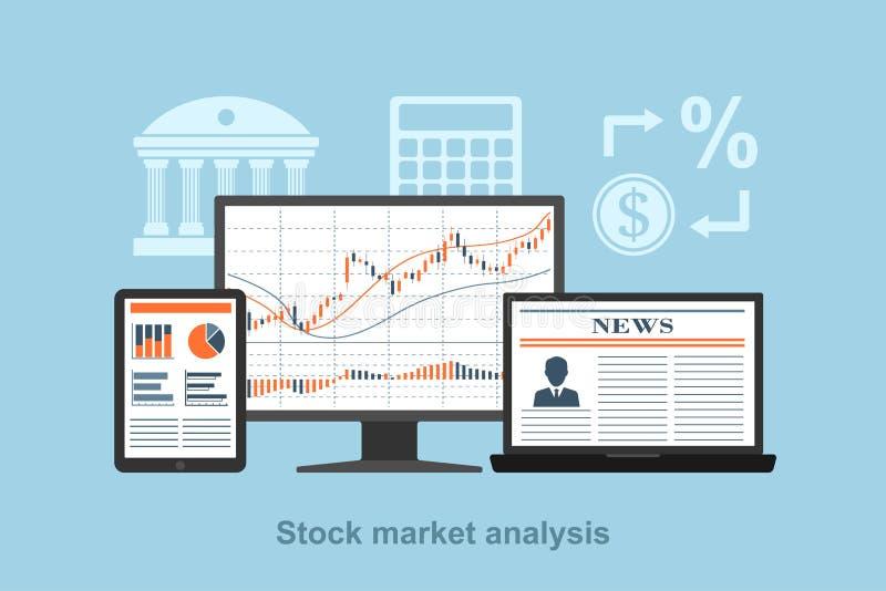 Análisis del mercado de acción stock de ilustración