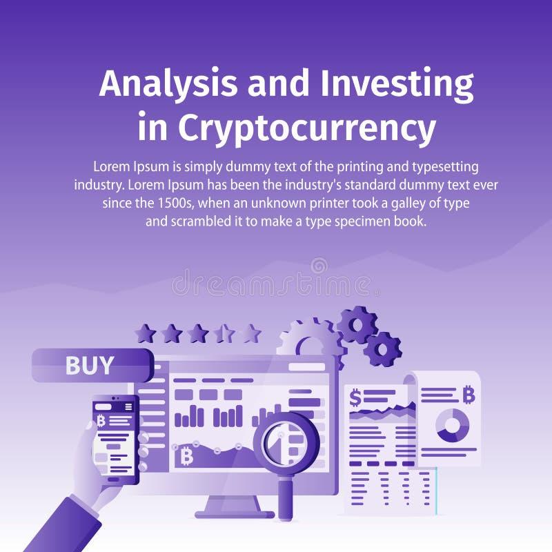 Análisis e inversión en Cryptocurrency La persona que trabaja en crypto empieza para arriba Tecnología de Blockchain Ordenador po stock de ilustración