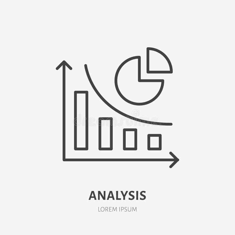Análisis, línea plana infographic icono de las finanzas Muestra del diagrama de la contabilidad Logotipo linear fino para los ser libre illustration