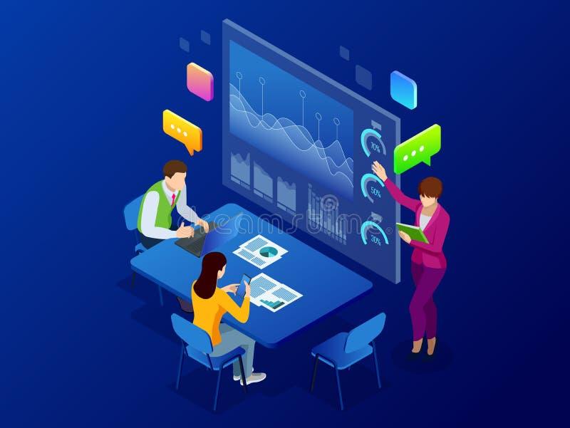 Análisis y planeamiento isométrico de negocio, consulta, trabajo del equipo, gestión del proyecto, informe financiero y estrategi ilustración del vector