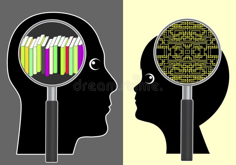 Análogo contra el cerebro de Digitaces libre illustration